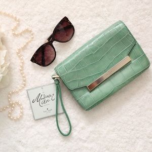 Kate Spade Croc Embossed Cowhide Green Clutch